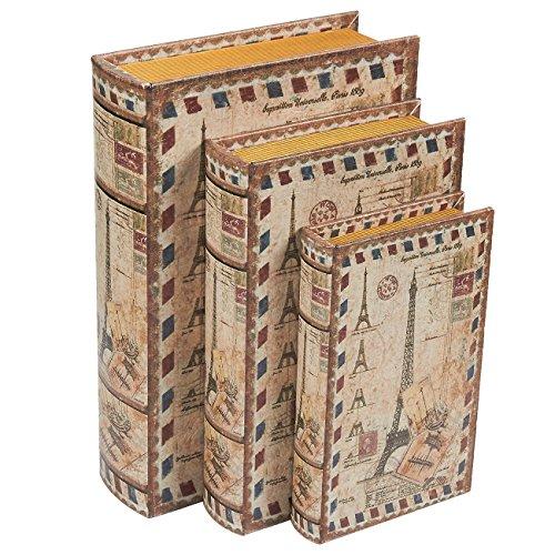 Buchattrappe, 3 Stück, 3Größen, Geldversteck für Wertsachen, Magnetverschluss, Cover-Motiv Eiffelturm, 20, 25, 30 cm