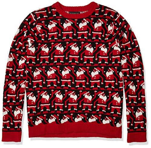 Blizzard Bay Men's Conga Line Santa Ugly Christmas Sweater, Black/Red, X-Large