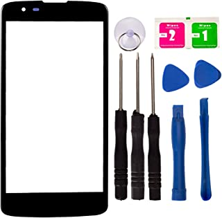 Replacement Repair Front Outer Top Glass Lens Cover Screen for LG Phoenix 2 K8 K350N K350E K350DS US375 Mobile Phone Parts with Tools Kit (Black)
