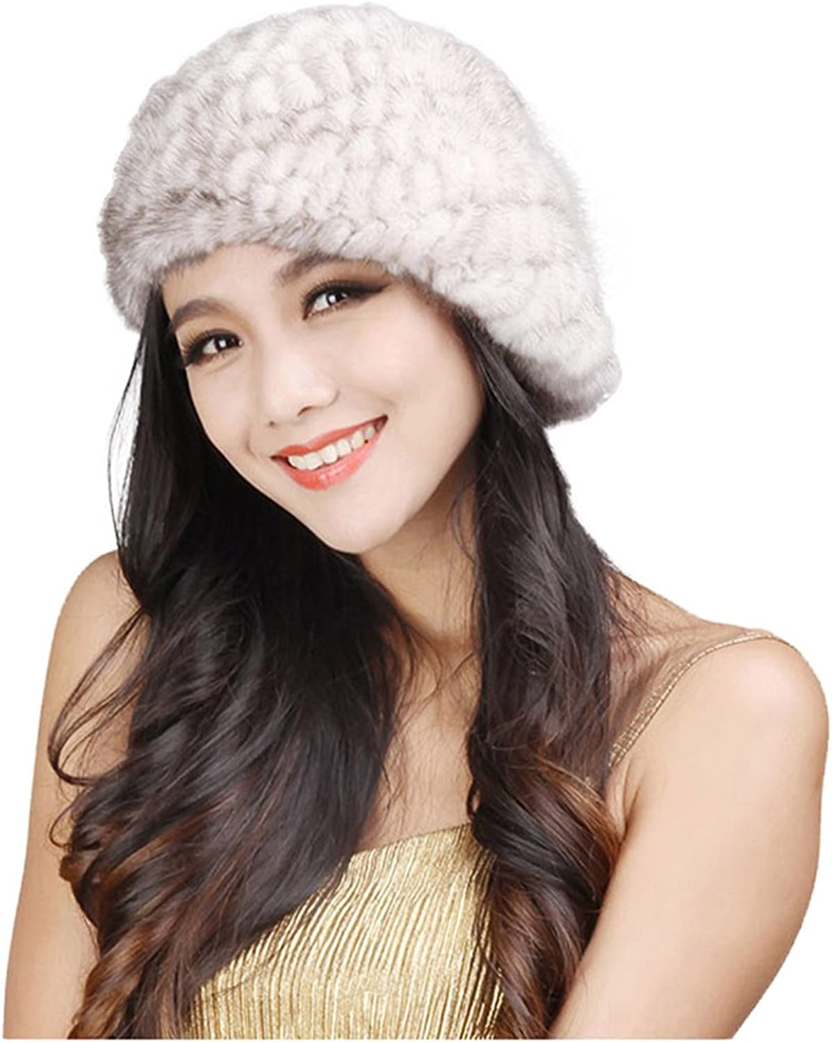 Fur Story 14618 Women's Knitted Real Mink Fur Beret Hat