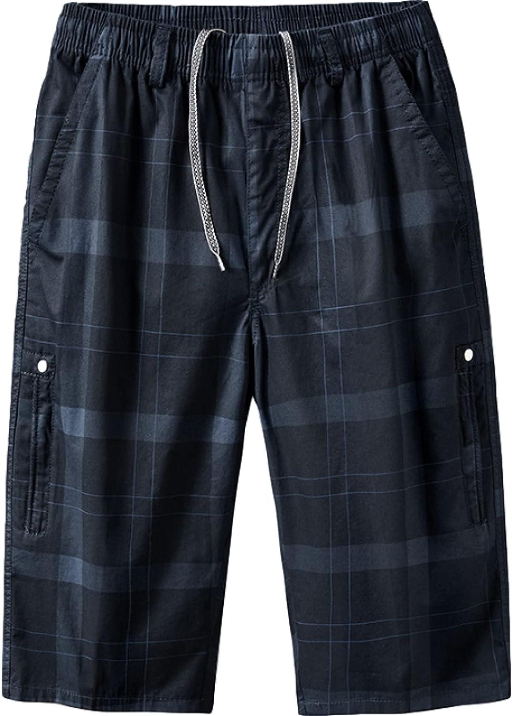 Men's Fashion Plaid Shorts Summer Loose Comfortable Drawstring Elastic Waist