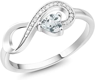 10K White Gold Sky Blue Aquamarine and Diamond Women's Infinity Ring 0.28 Ct Heart Shape (Available 5,6,7,8,9)