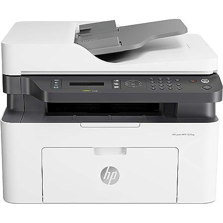 HP Laser MFP 137fnw Stampante Laser Multifunzione Monocromatica, Stampa, copia, scansione, fax, wireless, rete, Bianco/Grigio