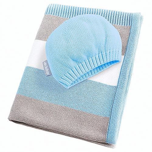 sei Design sei Design Baby Decke aus 100% Baumwolle 90 x 70 | kuschelige Strickdecke + Mütze | Ideal als Erstlingsdecke, Kuscheldecke, Puckdecke für Jungen in hübscher Geschenk-Verpackung
