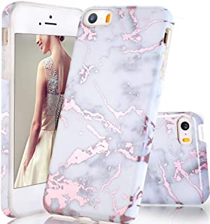 luolnh Compatible with iPhone 5 5S SE Case,Shiny Rose Gold Metallic White Marble Design, Shockproof Clear Bumper TPU Soft Case Rubber Silicone Skin Cover Case for iPhone 5 5s SE
