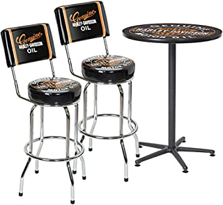 HARLEY-DAVIDSON Oil Can Cafe Table and Backrest Bar Stools