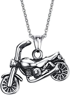 TIANYI Stainless Steel Necklace Men's Pendant Biker Necklace Retro Motorcycle Punk, 20