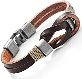 Dark Brown Genuine Leather Nautical Knot Bracelet with Silver Secure Clasps for Him and Her, Unisex, 8