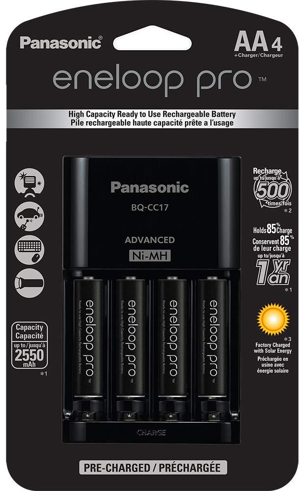 Panasonic K-KJ17M3A4B Eneloop AAA 4 Position Charger 4 Rechargeable Batteries