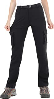 Women's Tactical Hiking Cargo Pants with 6 Pockets, Water Resistant, Black