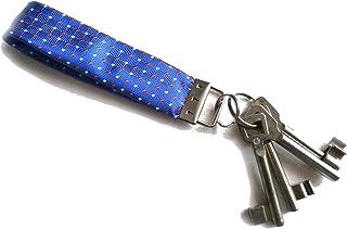 Miniblings Schlüsselanhänger Upcycling Unikat Vintage blau Mini rot Muster - Handmade Modeschmuck I Anhänger Schlüsselring Schlüsselband Keyring