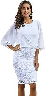 فستان حريمي من Eastylish أبيض مقلم بثنيات من الدانتيل للحفلات أو فستان بدون كتف مكشوف الكتفين بتفاصيل مكشكشة