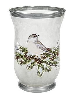 Chickadee on Pine Branches Wonderland LED Light Up Glass Vase