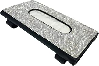 Ganghuo Bling Auto Tissue Houder, Crystal Sparkling Auto Servethouder, PU Lederen Zonneklep Tissue Box Auto Accessoires vo...