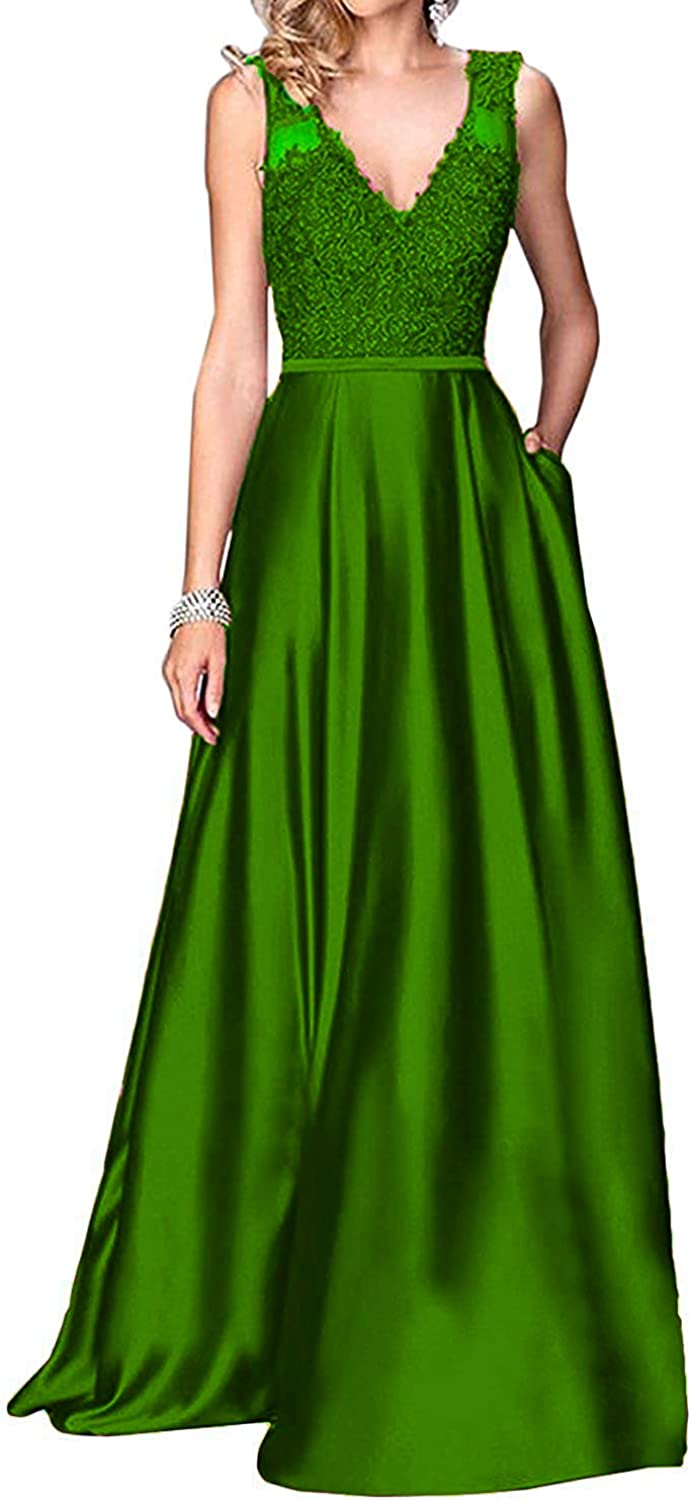 Ruiyuhong Women's Long Satin Prom Dresses with Pocket Evening Gowns with Beaded Appliques