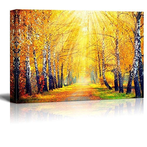 wall26 Canvas Wall Art - Beautiful Autumnal Park - Gallery Wrap Modern Home Art | Ready to Hang - 16' x 24'