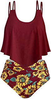 Swimsuit for Women Two Pieces Bathing Suits Top Ruffled Open Back with High Waisted Sunflower Print Bottom Tankini Set