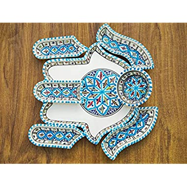 Turquoise Hamsa Hand of Fatima Dippers, 7 Pieces of Ceramic Dipping and Serving Plates Handmade, Hand-painted - Gifts, Wedding Gifts Birthday Celebration, Housewarming Gifts
