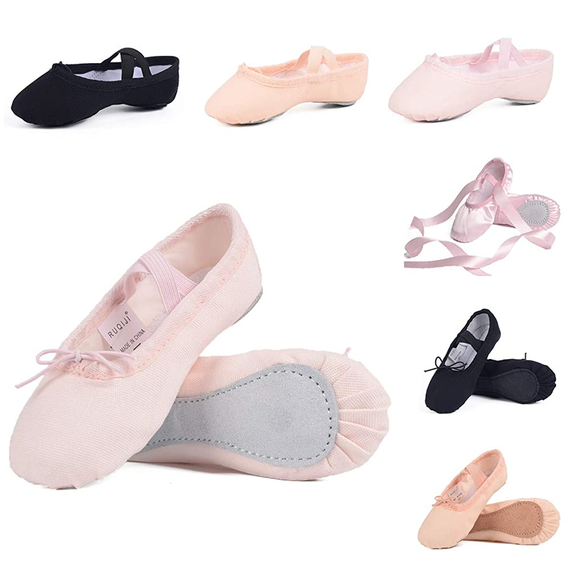 Ballet Shoes for Girls/Toddlers/Kids, Black Canvas Ballet Shoes/Pink Ballet Slippers/Dance Shoes