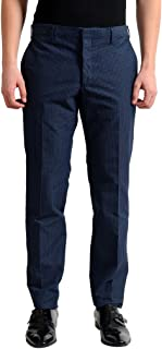 Men's Dark Blue Flat Front Dress Pants