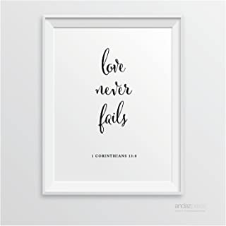 Andaz Press Biblical Wedding Signs, Formal Black and White, 8.5-inch x 11-inch, Love Never Fails, 1 Corinthians 13:8, Bible Quotes, 1-Pack