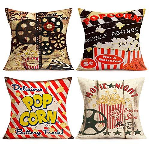 Asamour - Set di 4 federe per cuscini in stile vintage per cinema con popcorn, pellicola, lavello, cotone, lino, divano e divano, 40 x 40 cm