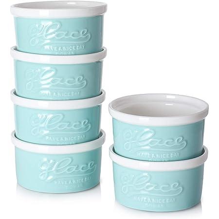 Turquoise DOWAN 4 Oz Porcelain Ramekins Mason style Souffle Dishes Creme Brulee Dishes Embossed ramekins for baking Set of 6