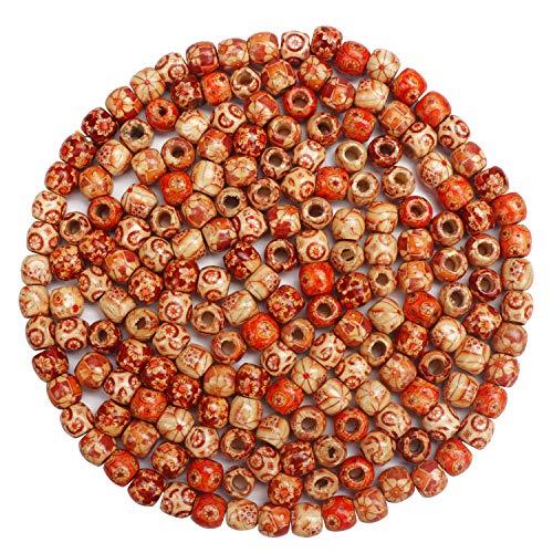 HANDI STITCH Holzperlen (300 Stück) Verschiedene Runde Gemusterte Ethno Perlen Barrel Makramee Größe 11mm mit 6 mm Loch zur Schmuckhesrtellung, Basteln, Halskette, Armband, Verzierung, Perlen basteln