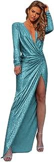 Sequin Buling Dresses for Women, Sexy Cross V-Neck Irregular Dress Maxi Dresses Elegant Prom Party Evening Dress