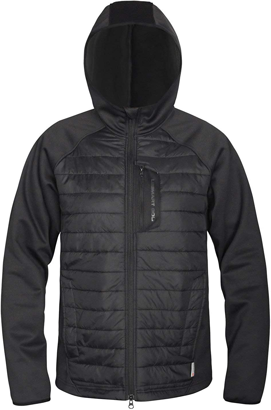 Lesmart Mens Hybrid Jacket Quilted Tech Warm Coat Hooded Windproof Water Repellent Winter Padded Coat