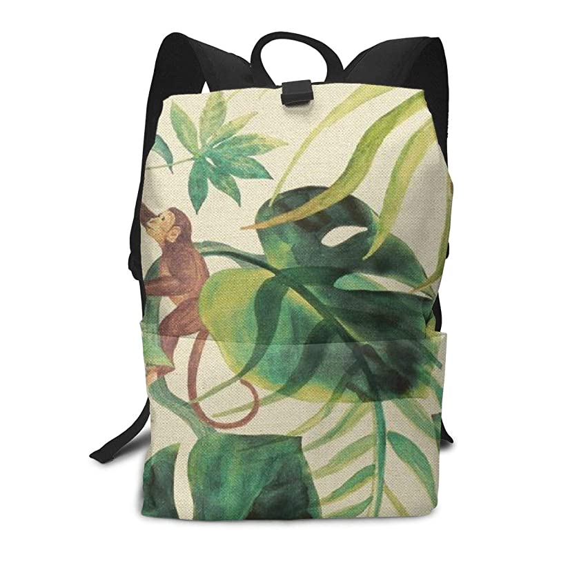 Travel Backpack Business Daypack School Bag Monkey Green Leaves Print Large Compartment College Computer Bag Casual Rucksack For Women Men Hiking Camping Outdoor