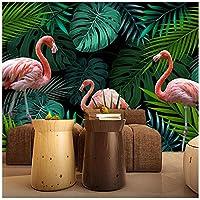 Wkxzz 壁の背景装飾画 カスタム壁画壁紙手描き熱帯雨林フラミンゴ牧歌的なリビングルームのソファの背景壁画-400X280Cm