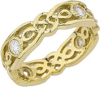 Elegant 10k Yellow Gold Diamond Vintage Celtic Knot Wedding Band