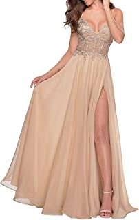 Sponsored Ad - Miao Duo Women's Lace Appliqued Chiffon Prom Dresses Long with Slit Spaghetti Straps V Neck Formal Party Go...