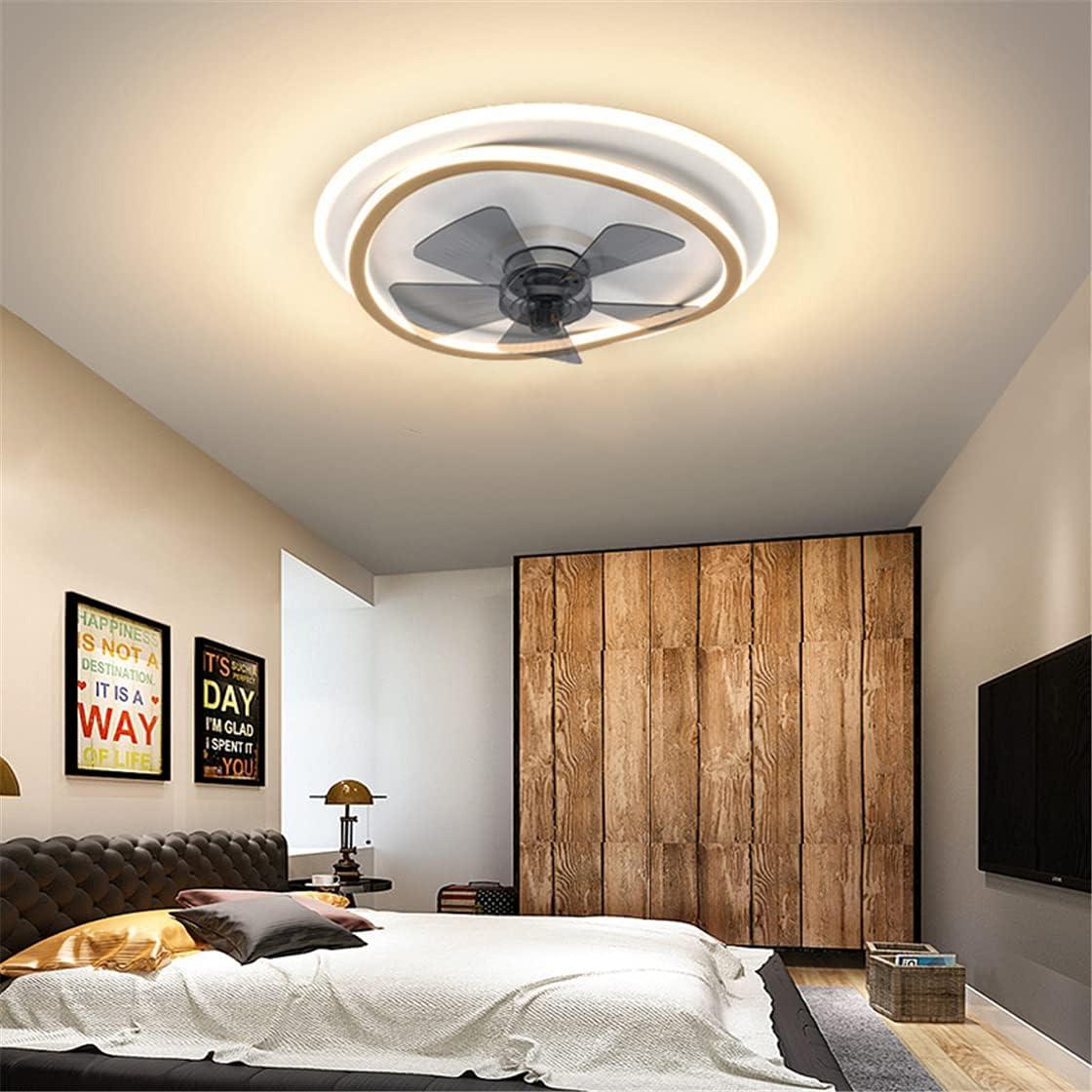 OMGPFR Lámpara de Techo Reversible con Ventilador LED, y Control Remoto Regulable Ø45 CM Iluminación de Ventiladores de Techo silenciosos Simples 6 Luces de Velocidad del Viento Ajustables