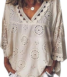 Suncolor8 Women's Long Sleeve Plus Size Hollow Out Loose V Neck Blouse T-Shirt Top