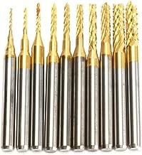 DRILLPRO 10Pcs 0.8-3 mm Titanium Coat Carbide End Mill Engraving Bits CNC Rotary Burrs Set Tool PCB Mould Plastic Fiber Carbon Fiber Hardwood, 1/8'' Shank