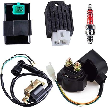 CDI Box Ignition Coil Solenoid Relay Voltage Regulator A7TJC Spark Plug for 50cc 70cc 90cc 110cc 125cc ATV Dirt Bike and Go Kart
