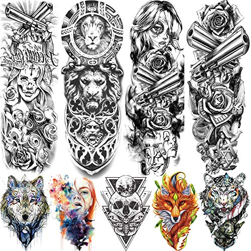 Rejaski 9 Sheets Black Gangster Girl Full Arm Temporary Tattoo Sleeves For Women Men Rebel Rock Punk Gun Rose Flower Tatoos Long Large Lion Wolf Totem Body Art Shoulder Temp Fake Tattoos Sticker Paper