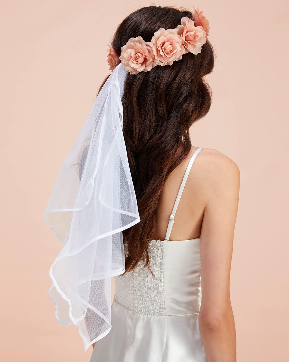 xo, Fetti Bachelorette Party Decorations Veil - Rose Gold Flower Veil   Bridal Shower Crown   Bride to Be Gift + Engagement Decorations