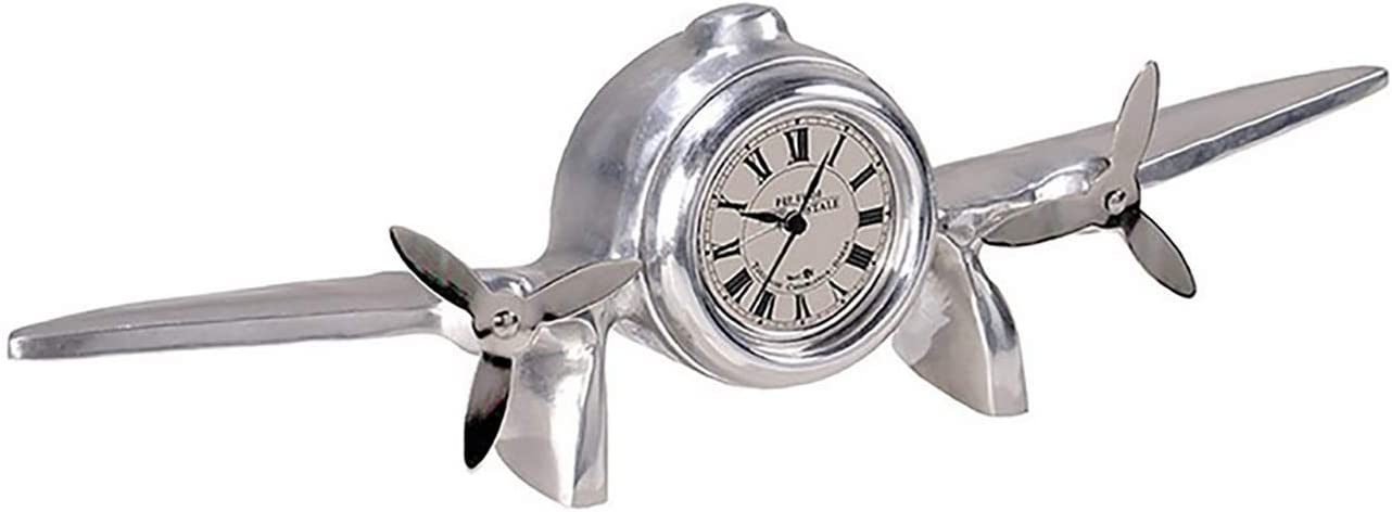 Amazon Com Authentic Models Art Deco Flight Clock Aviation Design Silver Highly Polished Home Kitchen