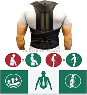 Posture Corrector Back Brace Support Belts for Upper Back Pain Relief, Adjustable Size with Waist Support Wide Straps Comfortable for Men Women (S)