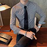Camisa de Cuadros Plus Size 4XL-M Autumn Winter New British Casual Plaid Shirt Men Clothing Simple Slim Fit Long Sleeve Tuxedo Dress Formal AsianL58-6