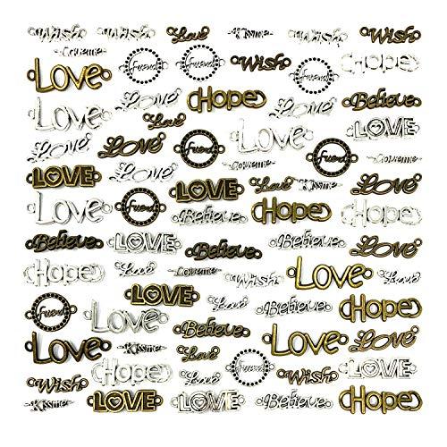 JIALEEY - 72 colgantes con texto en inglés'Love Hope Believe Wish Kissme'