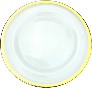 Ms Lovely Clear Glass Charger 13 Inch Dinner Plate with Metallic Rim - Set of 4 - Gold