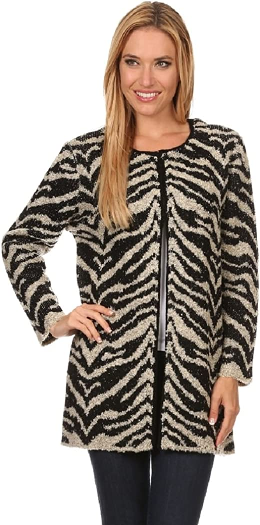 Women's Warm and Fuzzy Thick Cardigan Overcoat in Animal Print White, Black