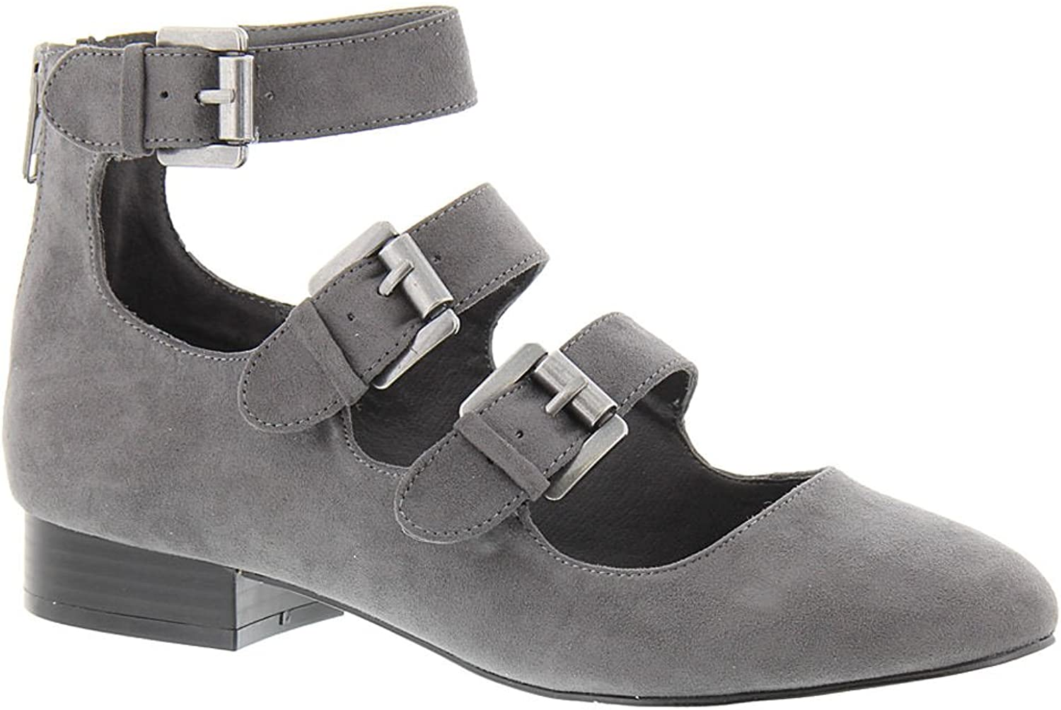 MIA Womens Luisa Closed Toe Casual Ankle Strap Sandals, Charcoal, Size 8.5