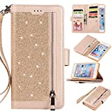 Shinyzone - Funda Tipo Cartera con Cremallera para iPhone 6S y iPhone 6, Dorado, iPhone 6 Plus/iPhone 6S Plus 5.5 Inch
