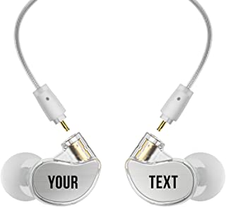 MEE audio M6 PRO 2nd generation Universal-Fit Noise-Isolating Musicians' In-Ear Monitors with Custom-Engraved Text Metal Plates (Clear)