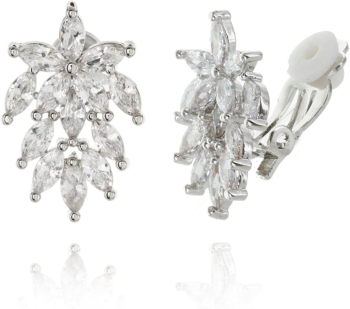 Women's Floral Cluster Cubic Zirconia Clip-on Bridal Earrings